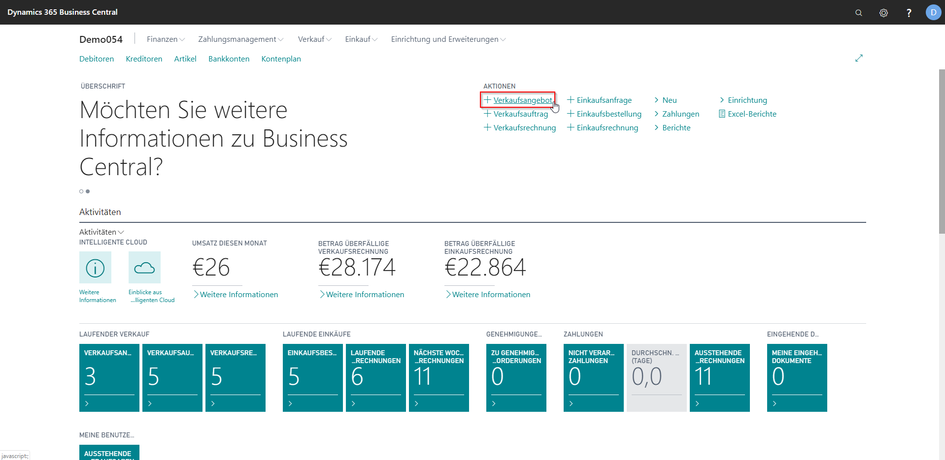 eCOUNT Dynamics 365 Business Central | Angebot anlegen
