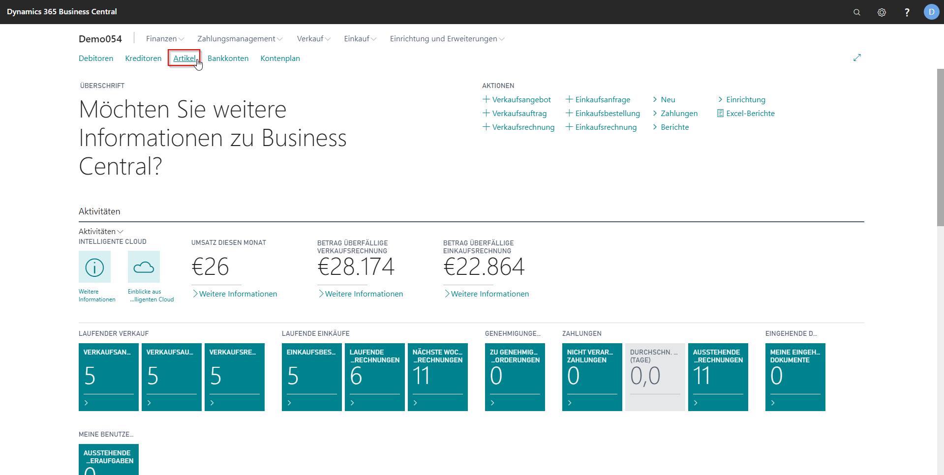 eCOUNT Dynamics 365 Business Central |  Artikel anlegen