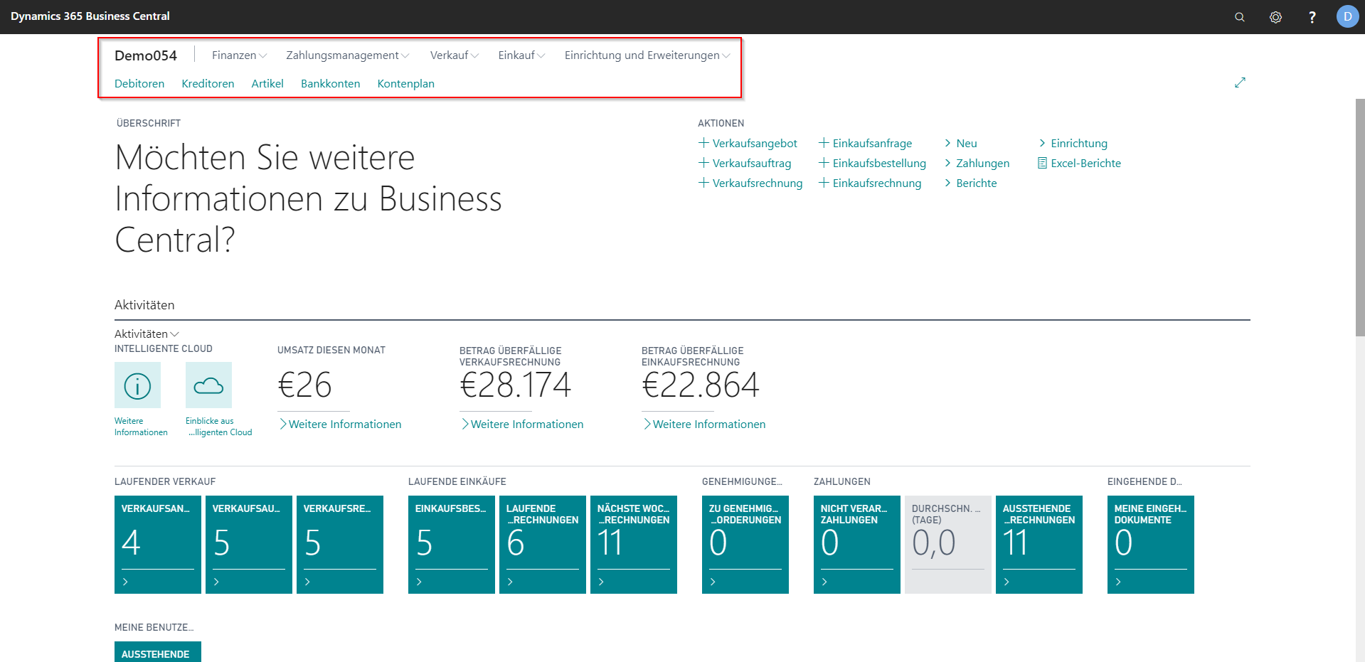 eCOUNT Dynamics 365 Business Central |  Navigationsleiste