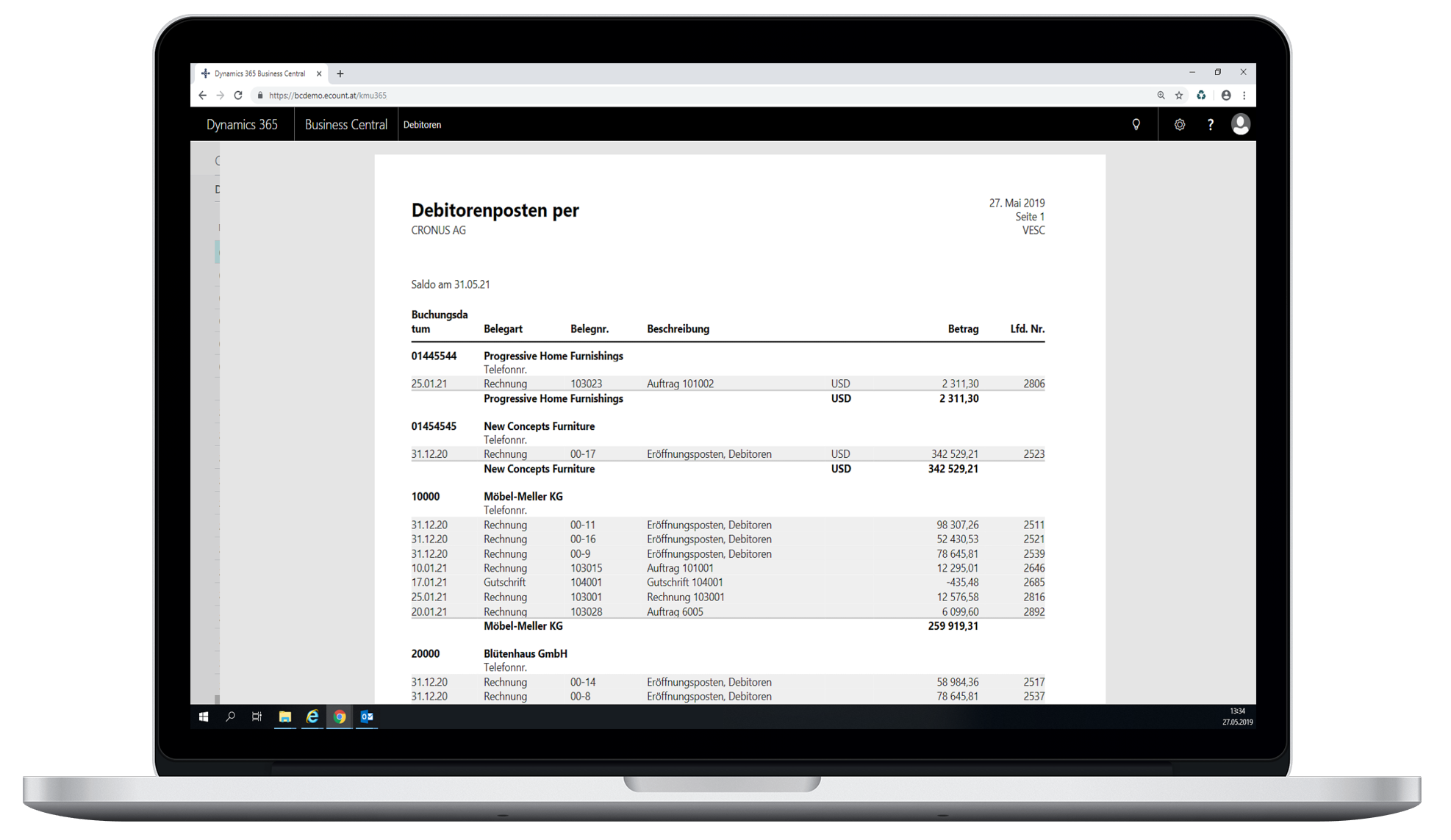 Debitorenbericht - eCOUNT Dynamics 365 Business Central