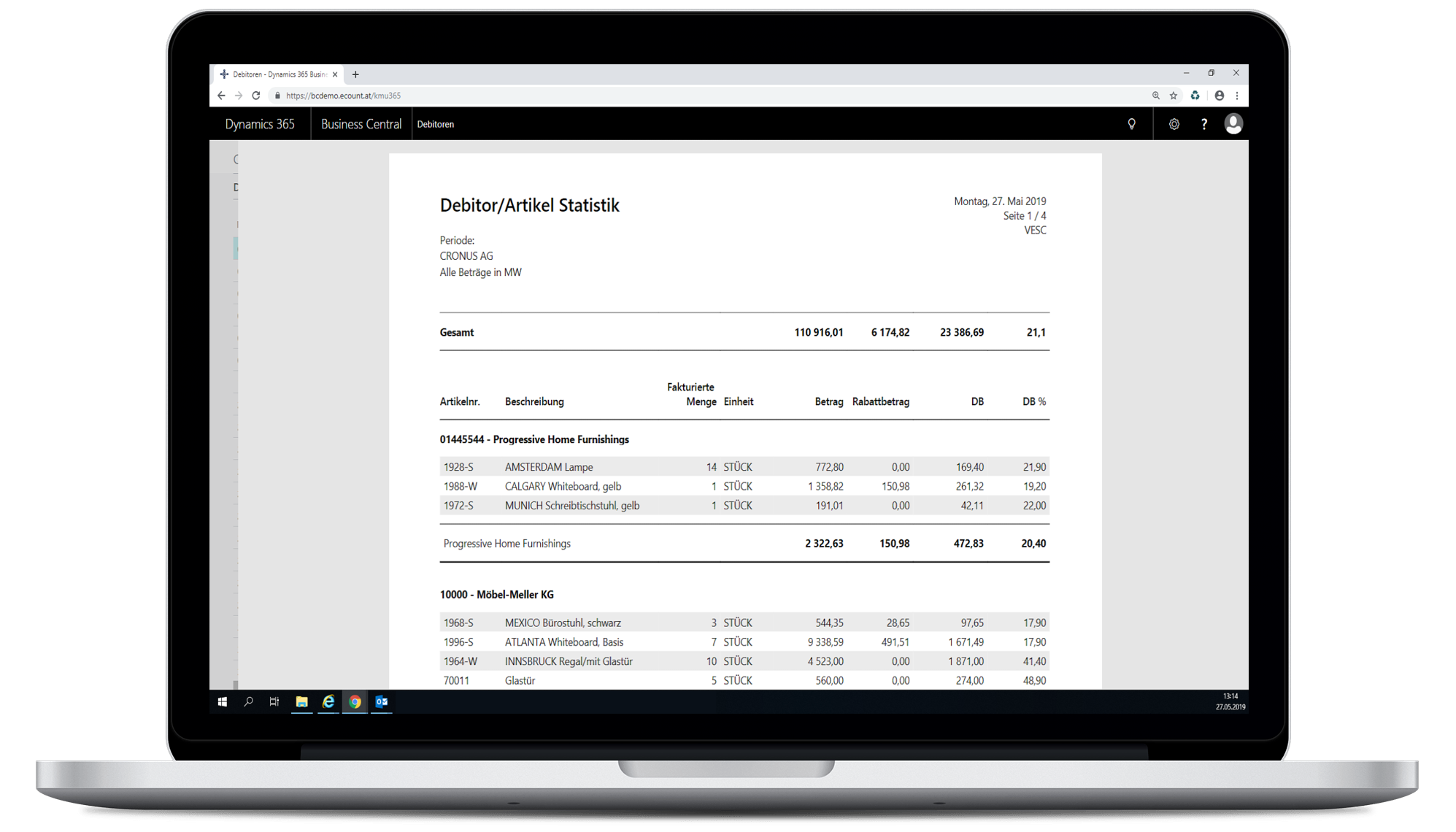 Bericht Debitor/Artikel in eCOUNT Dynamics 365 Business Central
