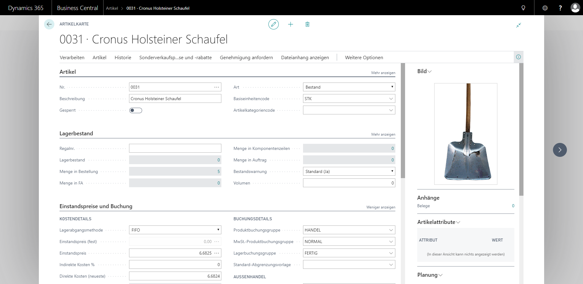 Detailansicht eines Artikels in eCOUNT Dynamics 365 Business Central