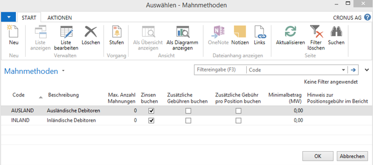 Mahnmethoden in Microsoft Dynamics NAV